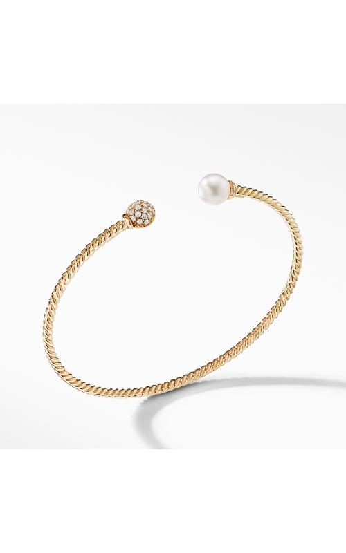 Petite Solari Bead and Pearl Bracelet with Diamonds in 18K Gold product image