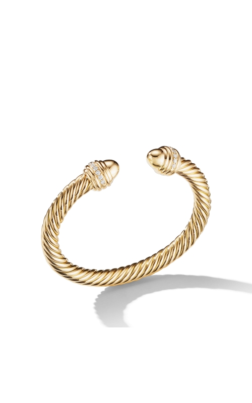 Cable Bracelet in 18K Gold with Gold Dome and Diamonds product image