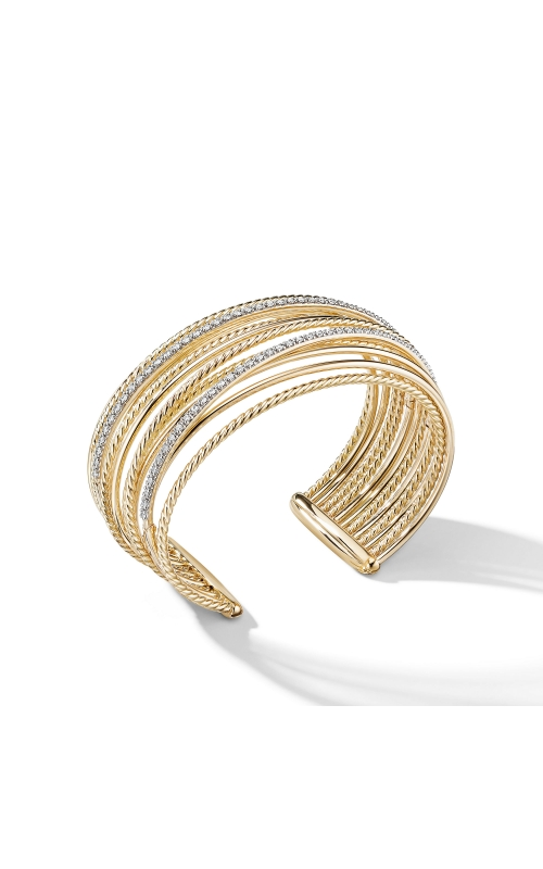 Crossover Cuff Bracelet in 18K Yellow Gold with Diamonds product image