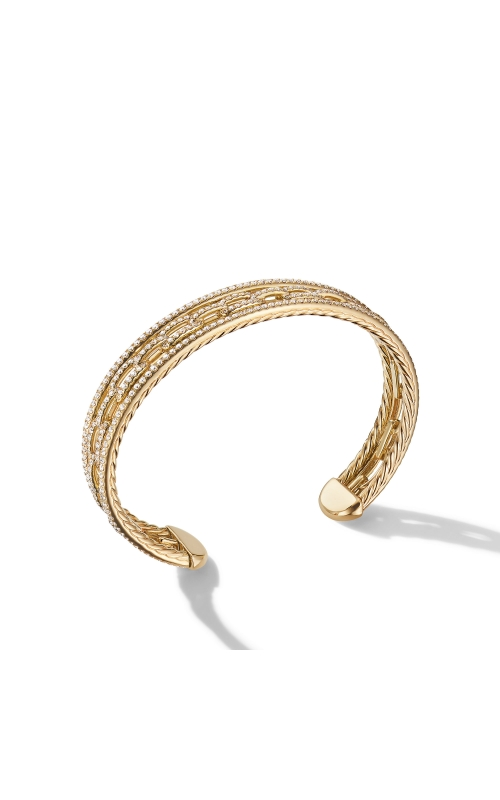 Stax Three-Row Chain Link Bracelet in 18K Yellow Gold with Diamonds product image