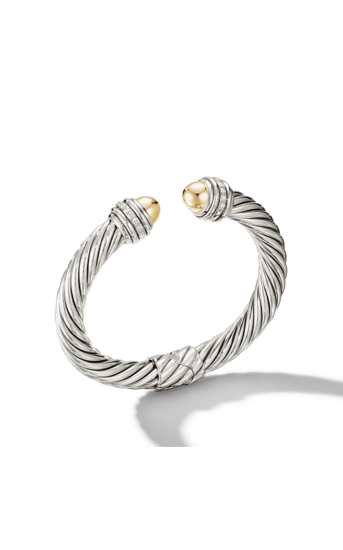 Cable Bracelet with 18K Yellow Gold Domes and Diamonds product image