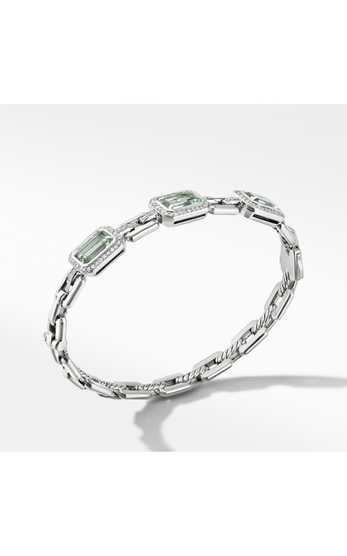 Novella Three Stone Bracelet with Prasiolite and Pavé Diamonds product image