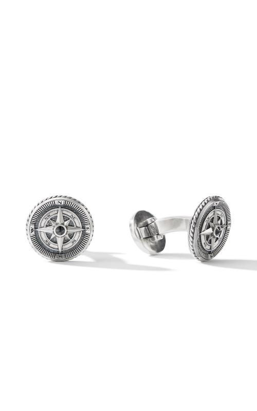 Maritime® Compass Cufflinks with Center Black Diamond product image