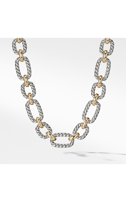 Cushion Link Necklace with Blue Sapphires and 18K Gold product image