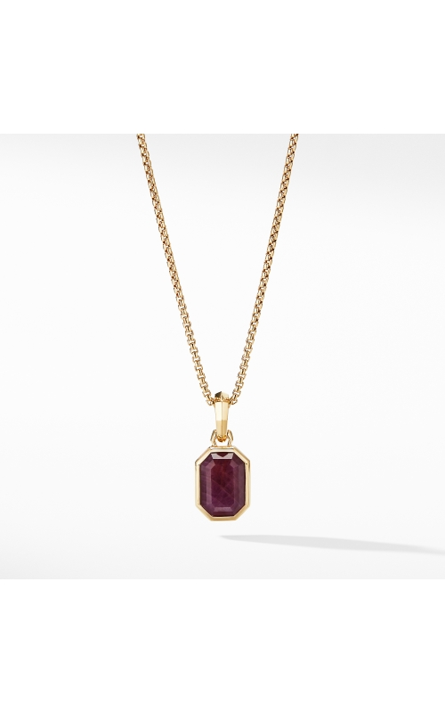 Emerald Cut Amulet with Indian Ruby in 18k Gold product image