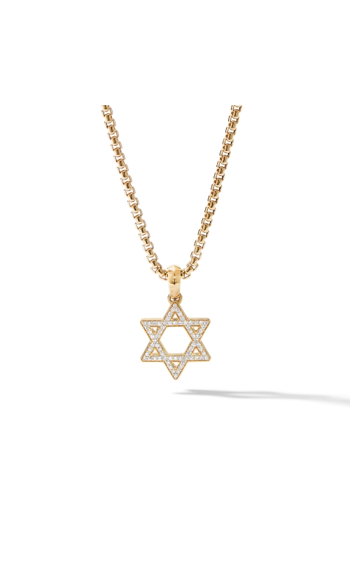 Modern Renaissance Star of David Pendant in 18K Yellow Gold with Diamonds product image