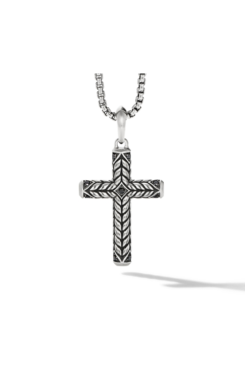 Chevron Sculpted Cross with Pavé Black Diamonds product image