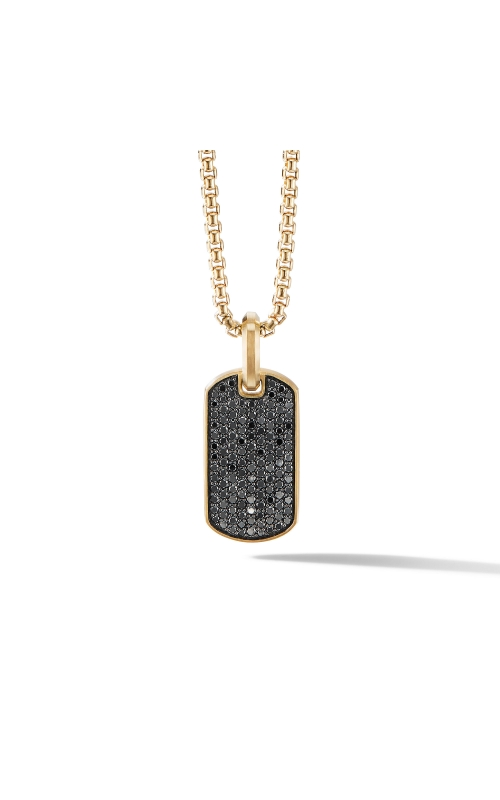Streamline® Tag in 18K Yellow Gold with Pavé Black Diamonds product image