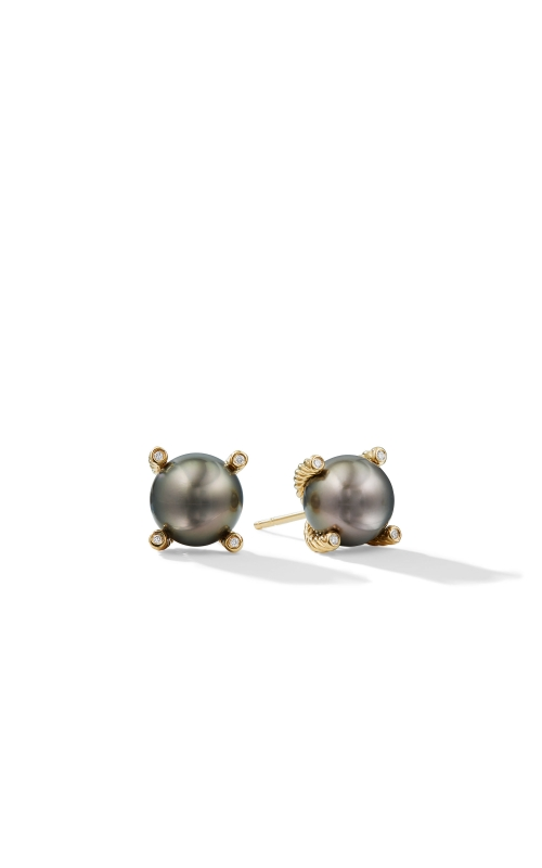 Tahitian Grey Pearl Earrings with Diamonds in 18K Gold product image