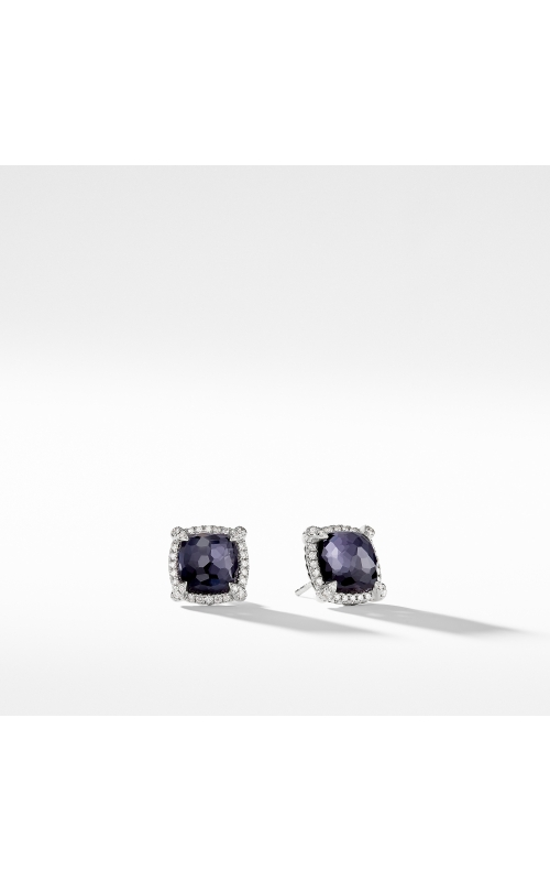 Chatelaine® Pavé Bezel Earring with Black Orchid and Diamonds mm product image