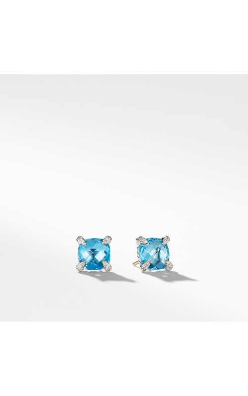 Chatelaine® Stud Earrings with Blue Topaz and Diamonds mm product image