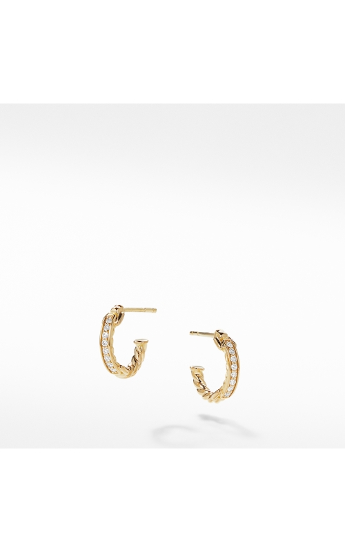 Petite Pavé Hoop Earrings with Diamonds in 18K Gold product image