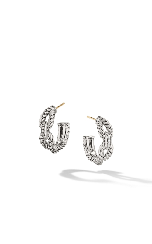 Cable Loop Hoop Earrings with Diamonds product image