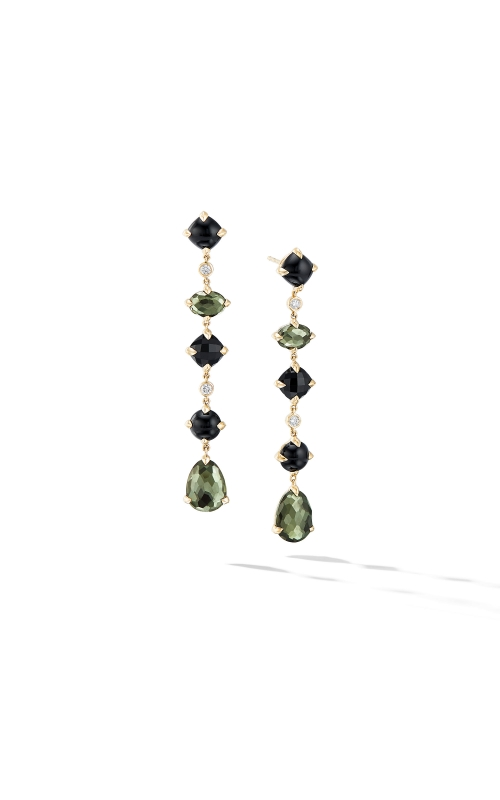 Chatelaine® Multi Drop Earrings in 18K Yellow Gold with Green Orchid, Black Onyx and Diamonds product image