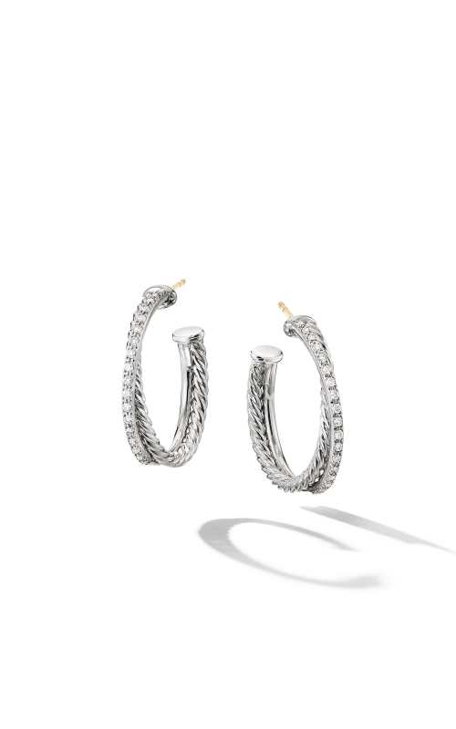 The Crossover Collection® Medium Hoop Earrings with Diamonds product image
