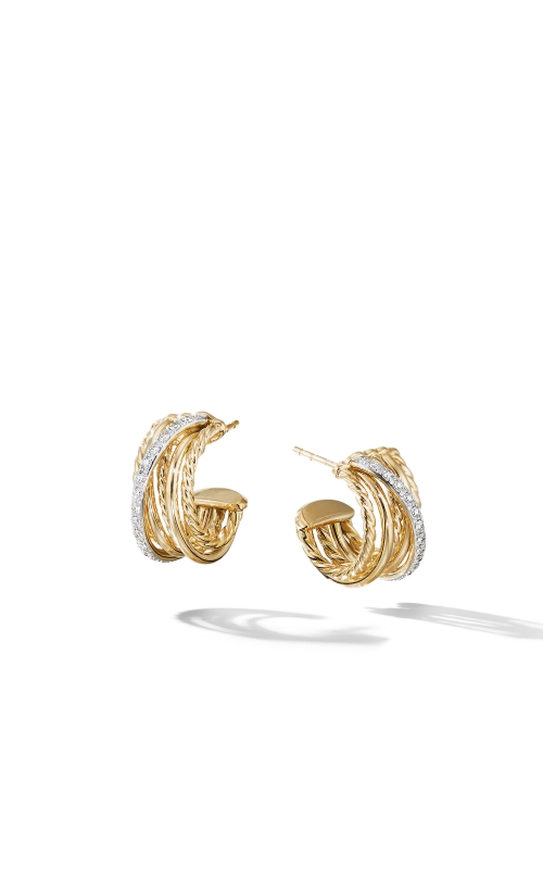 Crossover Huggie Hoop Earrings in 18K Yellow Gold with Diamonds product image