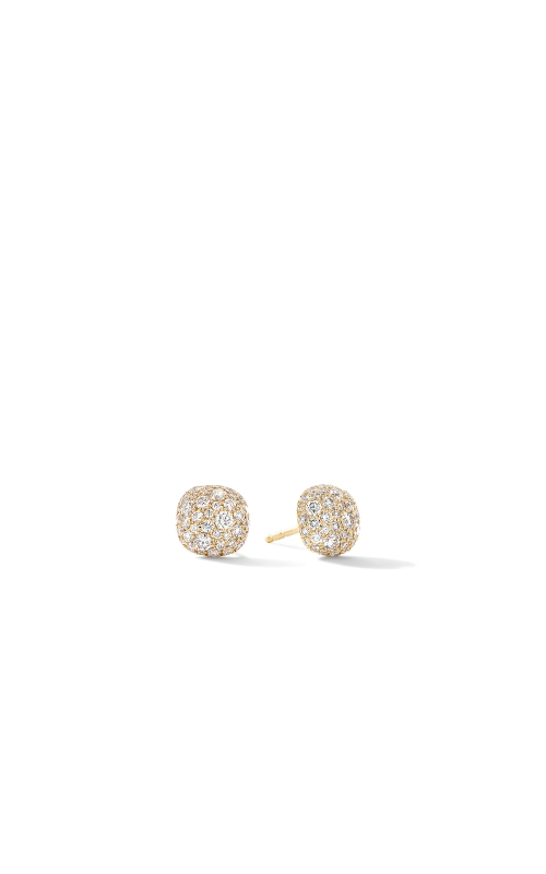 Small Cushion Stud Earrings in 18K Yellow Gold with Pavé Diamonds product image