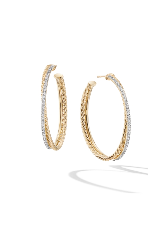 Crossover XL Hoop Earrings in 18K Yellow Gold with Diamonds product image