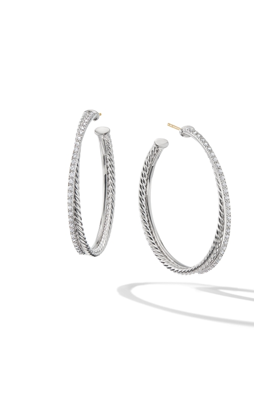 Crossover XL Hoop Earrings with Diamonds product image