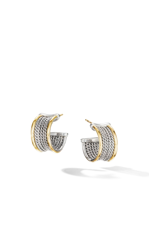 DY Origami Cable Huggie Hoops with 18K Yellow Gold product image