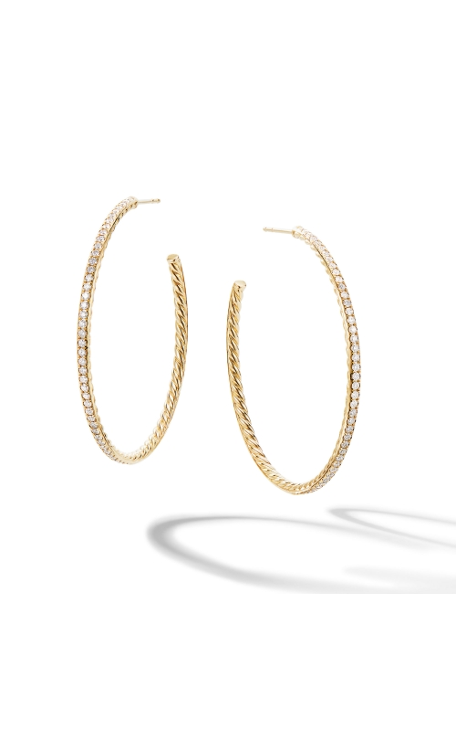Large Hoop Earrings in 18K Yellow Gold with Pavé Diamonds product image