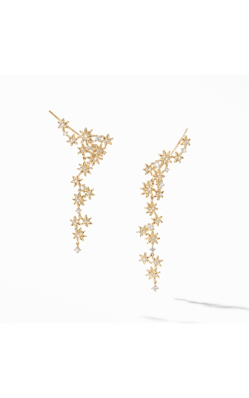 Starburst Cluster Earrings in 18K Yellow Gold with Pavé Diamonds product image
