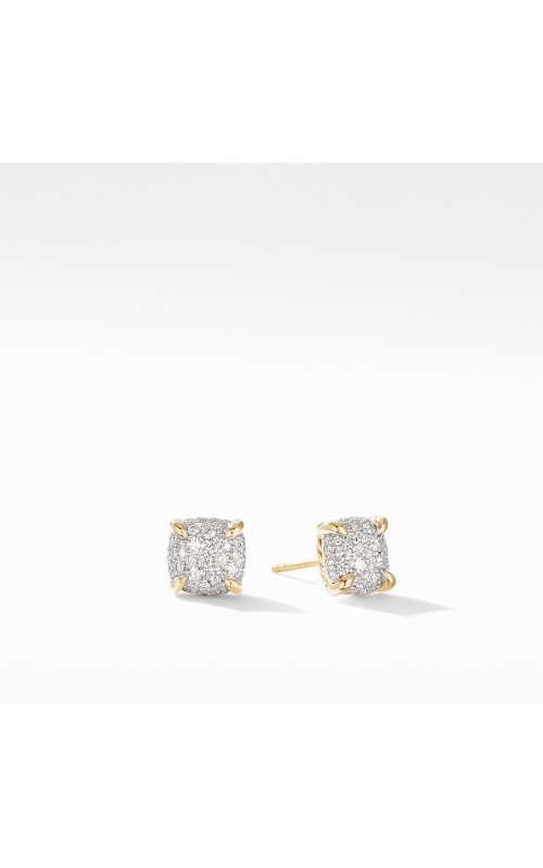 Chatelaine® Stud Earrings in 18K Yellow Gold with Full Pavé Diamonds product image