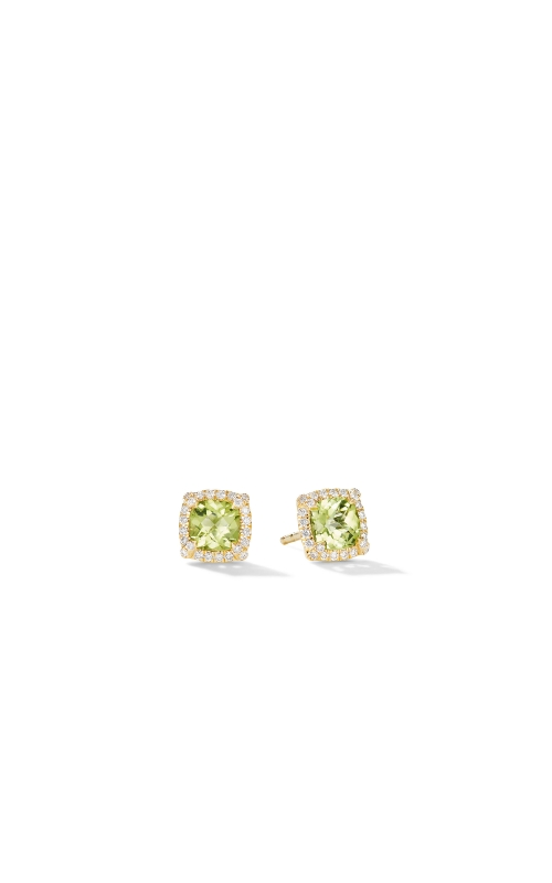 Petite Chatelaine® Pavé Bezel Stud Earrings in 18K Yellow Gold with Peridot product image
