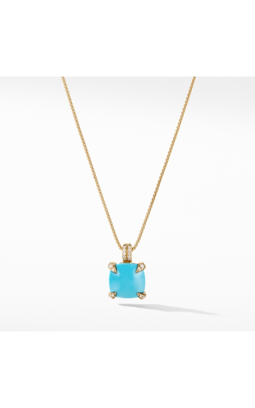Pendant Necklace with Turquoise and Diamonds in 18K Gold product image