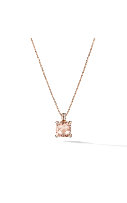 Chatelaine® Pendant Necklace with Diamonds in 18K Rose Gold with Morganite product image