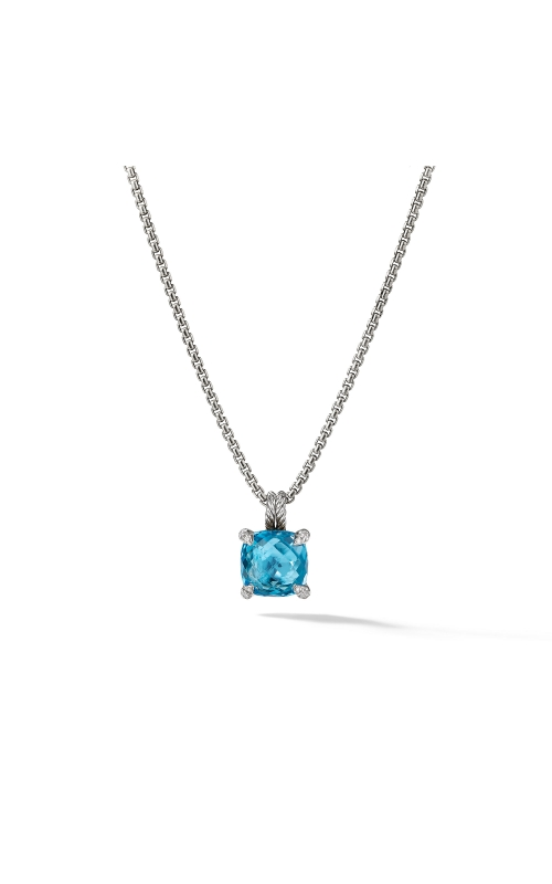Chatelaine® Pendant Necklace with Blue Topaz and Diamonds, 11mm product image