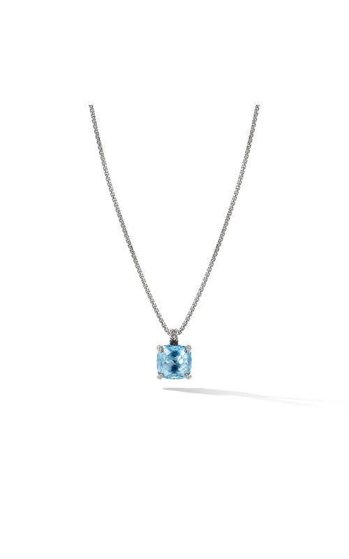 Chatelaine® Pendant Necklace with Blue Topaz and Diamonds 1 product image