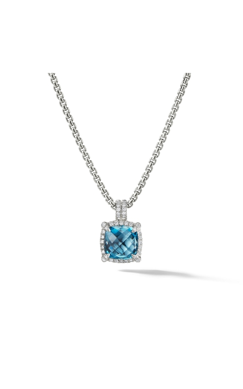 Chatelaine Pave Bezel Pendant Necklace with Hampton Blue Topaz and Diamonds, 9mm product image