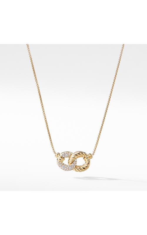 Belmont Extra-Small Double Curb Link Necklace with Diamonds in 18K Gold product image
