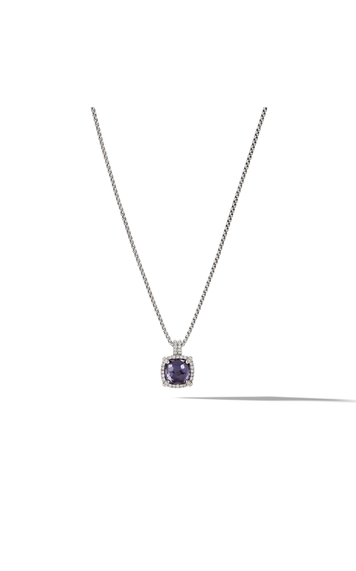 Chatelaine® Pave Bezel Pendant Necklace with Black Orchard and Diamonds, 9mm product image