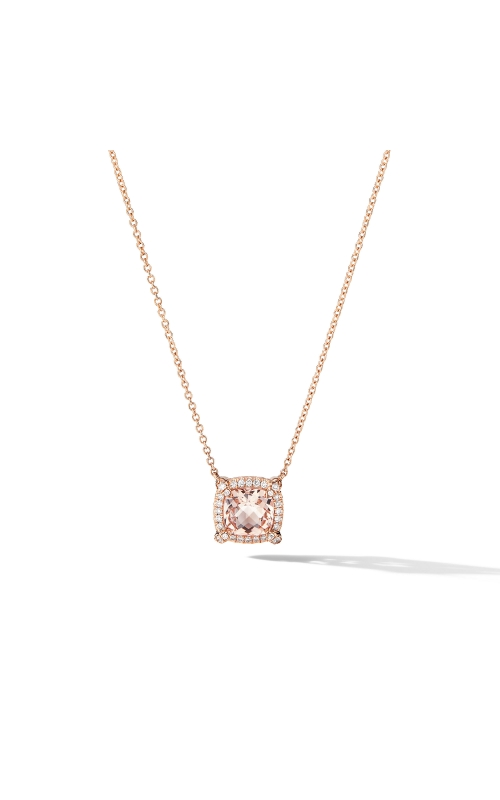 Petite Chatelaine® Pavé Bezel Pendant Necklace in 18K Rose Gold with Morganite product image
