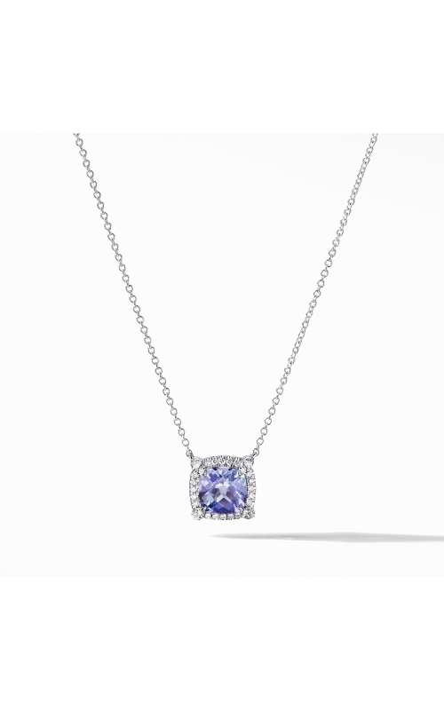 Petite Chatelaine® Pavé Bezel Pendant Necklace in 18K White Gold with Tanzanite product image