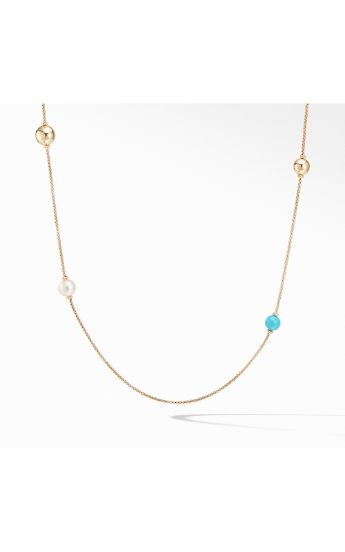 Solari XL Station Chain Necklace in 18K Yellow Gold with Turquoise and Pearls product image