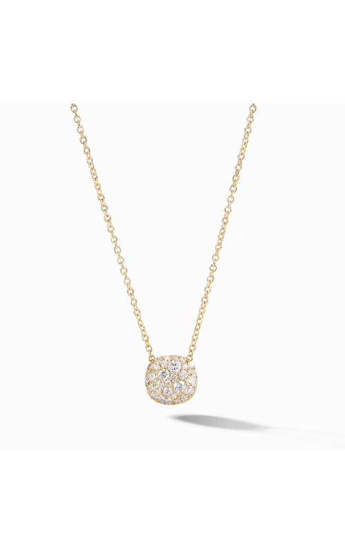 Cushion Stud Pendant Necklace in 18K Yellow Gold with Pavé Diamonds product image