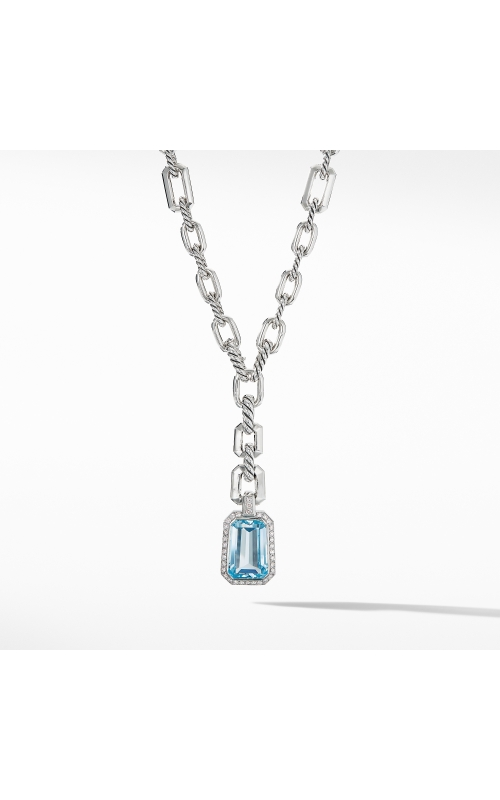 Stax Drop Pendant Necklace with Blue Topaz and Diamonds product image