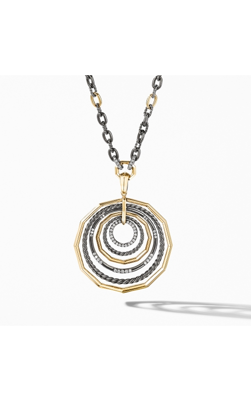 Stax Black and Gold Large Pendant Necklace with Diamonds product image