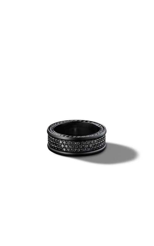 Streamline Three-Row Band Ring with Black Diamonds and Black Titanium product image