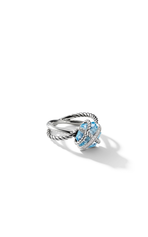 Cable Wrap Ring with Blue Topaz and Diamonds product image