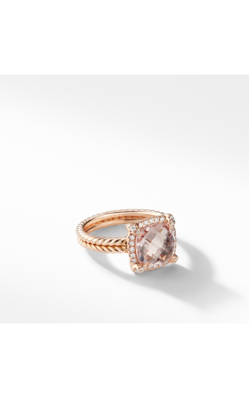 Chatelaine Pavé Bezel Ring in 18K Rose Gold with Morganite product image