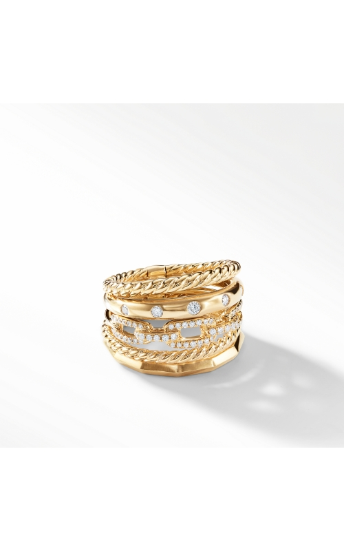 Stax Wide Ring with Diamonds in 18K Gold product image