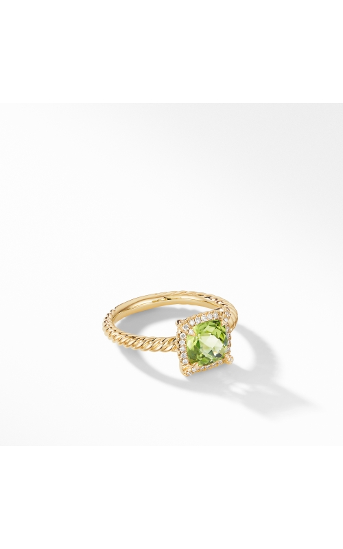 Petite Chatelaine® Pavé Bezel Ring in 18K Yellow Gold with Peridot product image