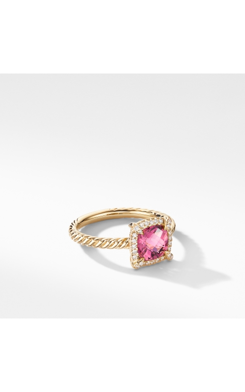 Petite Chatelaine® Pavé Bezel Ring in 18K Yellow Gold with Pink Tourmaline product image