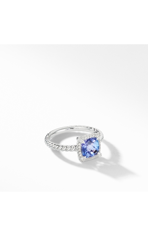 Petite Chatelaine® Pavé Bezel Ring in 18K White Gold with Tanzanite product image
