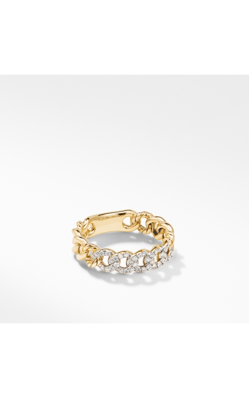 Belmont Curb Link Narrow Ring in 18K Yellow Gold with Pavé Diamonds product image