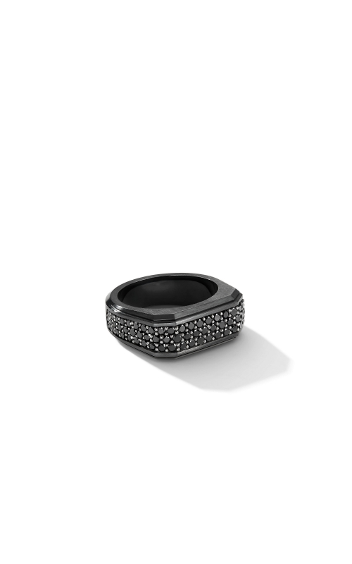 Roman Signet Ring in Black Titanium with Black Diamonds product image